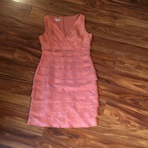Soft peach dress by London Times, size 10.